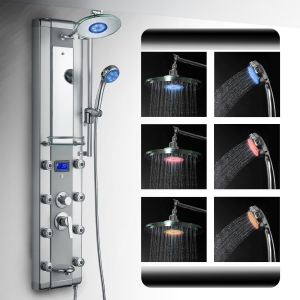 AKDY Aluminum Shower Panel With 3 Colors LED