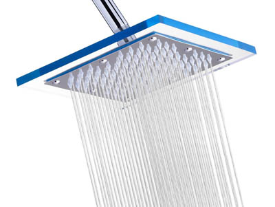 A-Flow Luxury Rain 8 Square Shower Head Reviews with Acrylic Sparkling Clear Glass